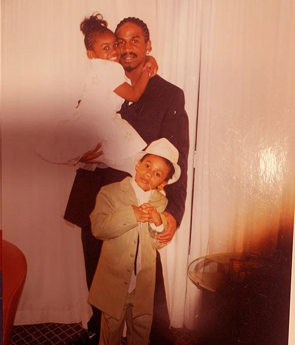 Image of Old photo of Stevie J with son Steven Jordan Jr. and daughter Savannah