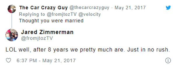 Image of Jared Zimmerman tweet about his dating life
