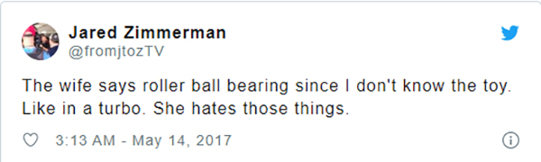 Image of Jared Zimmerman's Tweet about his wife