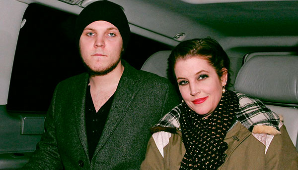 Image of Benjamin, with his star mother, Lisa Marie Presley.